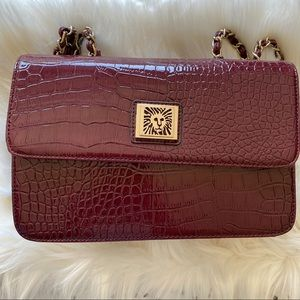 Anne Klein plum leather handbag